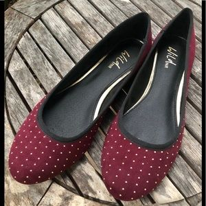 Wild Pair Morton wine faux suede studded flats